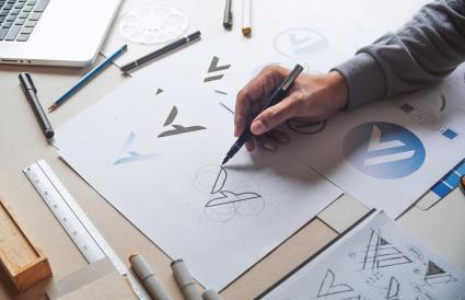 Graphic designer development brand logo