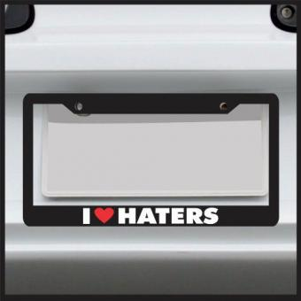 I heart haters funny license plate frame