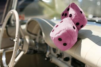 fuzzy pink dice