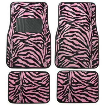 Zebra Pink Floor Mat Set from CarDecor