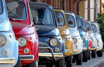 Coloured vintage cars