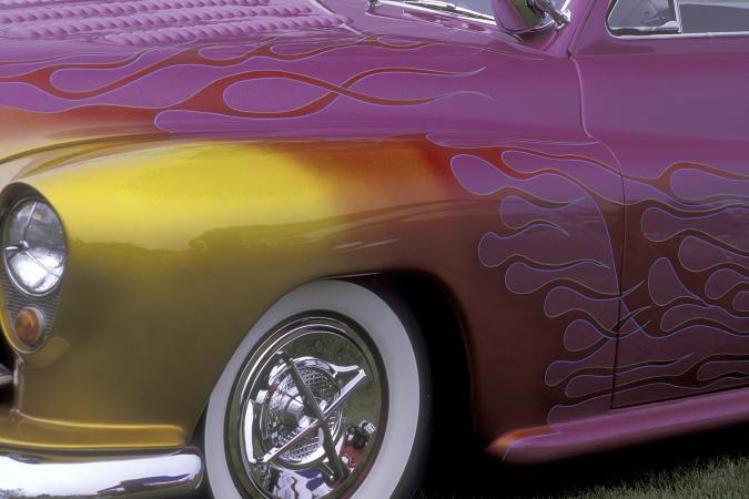 Close-up of custom classic car