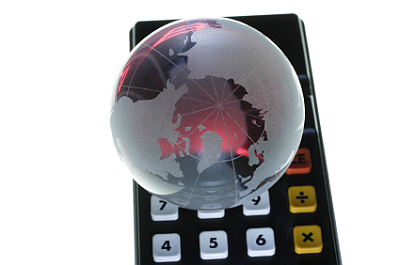 globe over calculator