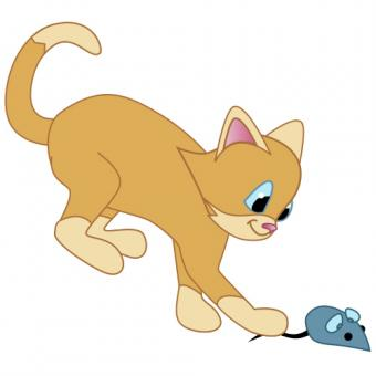 Cat with toy mouse clip art