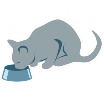 Cat having dinner clip art