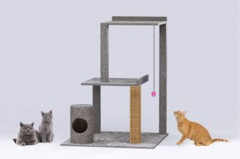 finished cat tree with cats