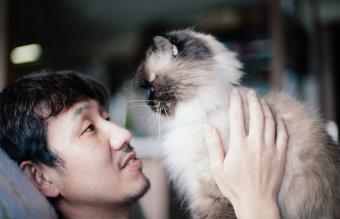 Man with his pet cat