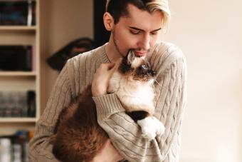 Man holding a ragdoll cat