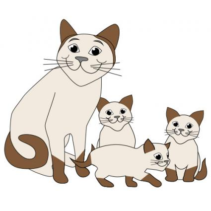 Free cat and kittens clip art