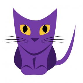 Purple cat clip art