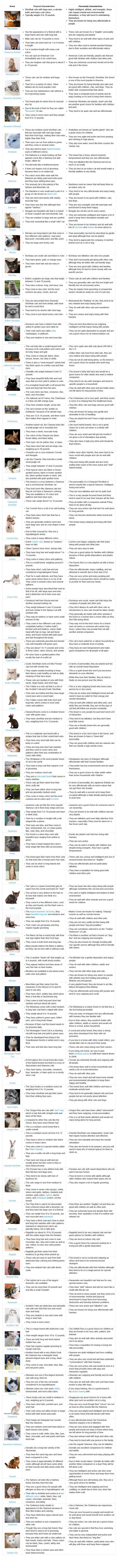 Cat Breed Characteristics Chart