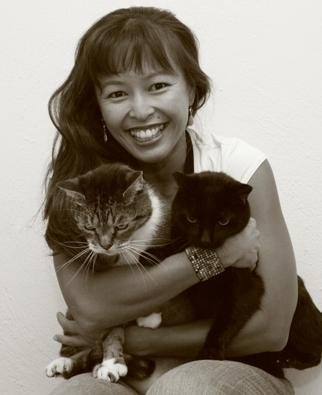 Justine Lee and her cats; Image used with her permission.