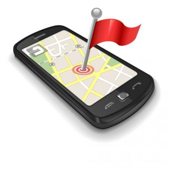 mobile phone with location flag