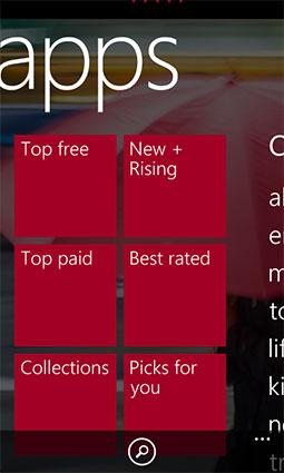 Screenshot of Windows phone apps