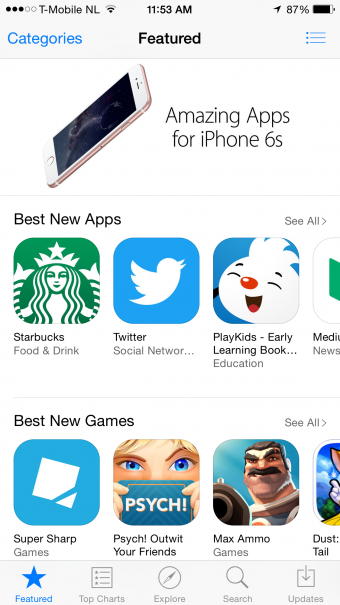 App Store Home Screen