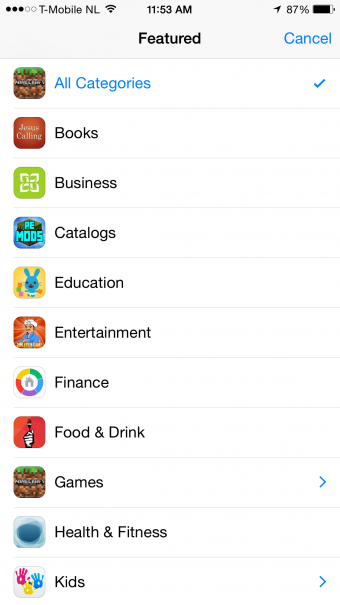 Featured Apps categories