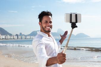 man with selfie stick