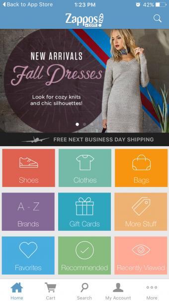 Screenshot of Zappos Mobile Shopping App