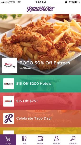 Screenshot of RetailMeNot Mobile Shopping App