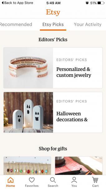 Screenshot of Etsy Mobile Shopping App