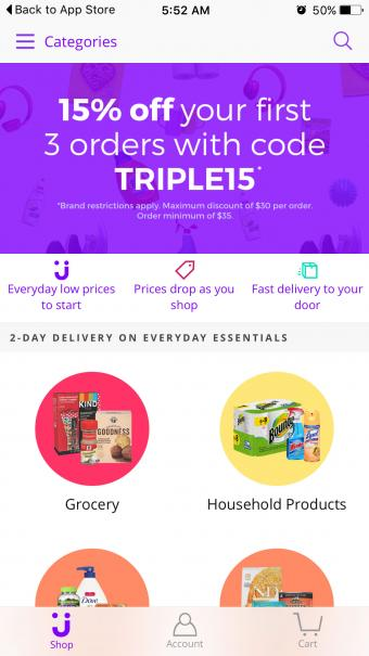 Screenshot of Jet Mobile Shopping App