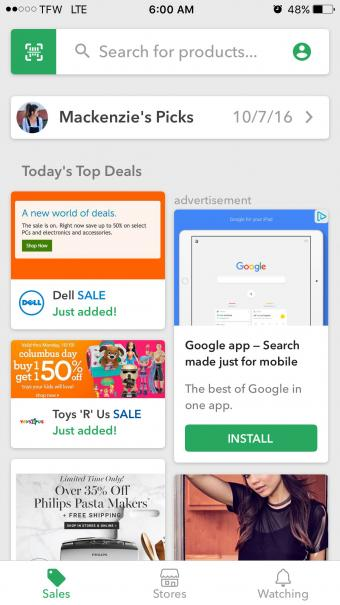 Screenshot of ShopSavvy Mobile Shopping App