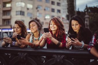 Women using phone apps