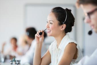 Customer service woman wearing headset