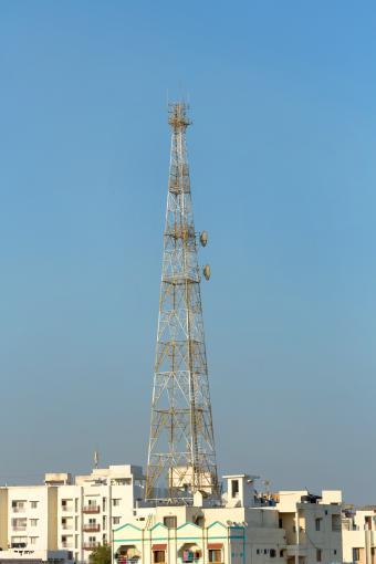 Telephone Tower in residential neighborhood in Hyderabad,India