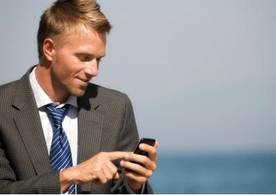 Businessman using his smartphone