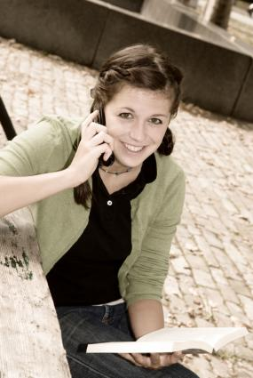 Student using a phone