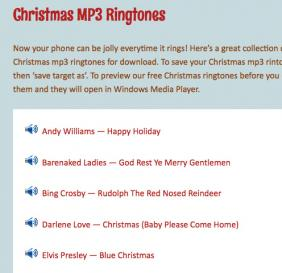 Screenshot of Christmas MP3 Ringtones from Jinglebell Junction