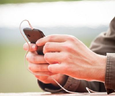 Holding a music smartphone