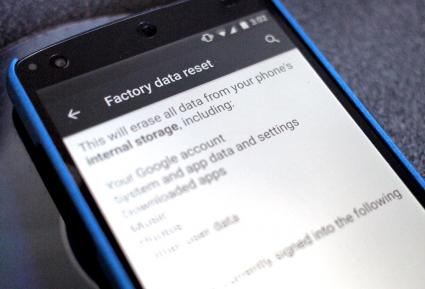 Factory data reset on Android smartphone