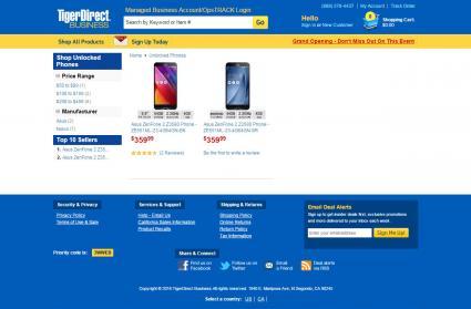 Tiger Direct website