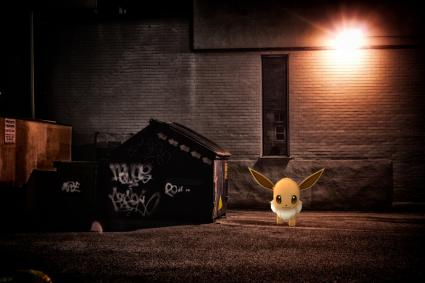 Eevee Pokemon lurking in creepy alley