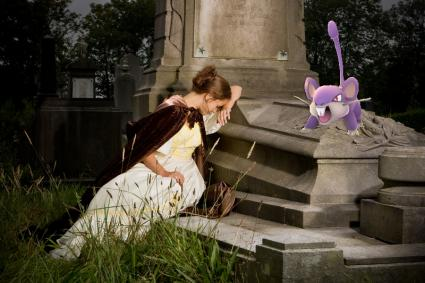 rattata pokemon at cemetery