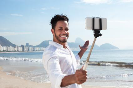 man with selfie stick
