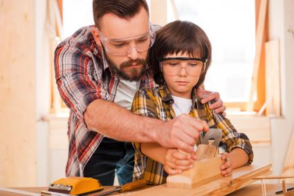 Helping dad