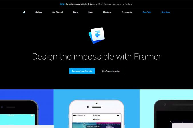 Screenshot of Framer website