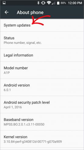System updates page on Android phone