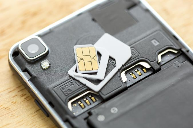 SIM card on smart phone