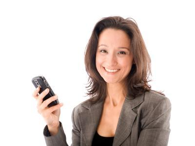 Woman with BlackBerry phone