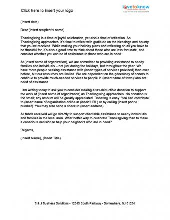 Thanksgivig Financial Support Letter Template