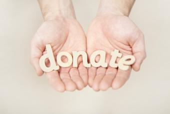 Hands holding donate letters