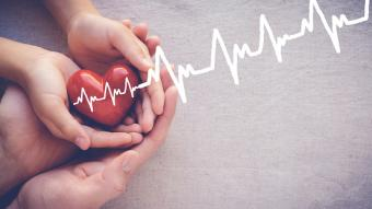 holding red heart with cardiogram