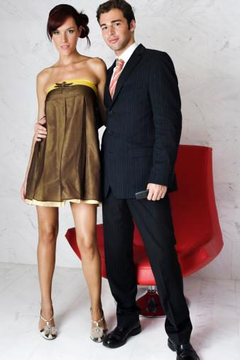 couple with trendy formal outfits