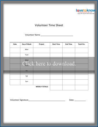 Weekly Volunteer Time Sheet