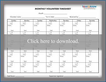 Monthly Volunteer Time Sheet