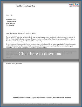 Fundraiser Contribution Letter